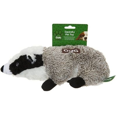 Crufts Squeaking Badger Toy    On Tie On Card