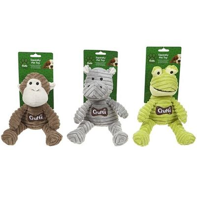 Crufts Corduroy Squeaking      Animal Pet Toys 3 assorted