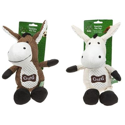Crufts Large Squeaking Donkey  Pet Toy 2 assorted Colours
