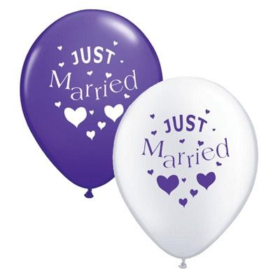 Just Married Purple and White Balloons
