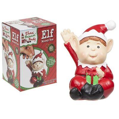 4 Inch Polystone  Naughty Elf Des  Hand Painted Money Box. Prtbox