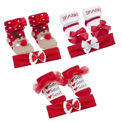Baby Girls Sock And Headband Sets - Christmas  By Baby Town