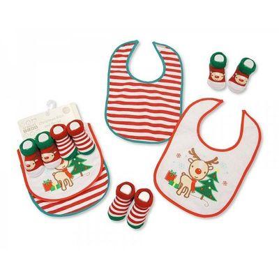 Baby Bibs And Socks Set -christmas By Nursery Time