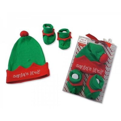2 Pieces Hat And Booties Set - My Ist Christmas  By Nursery Time