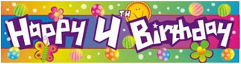 Happy 4th Birthday Banner