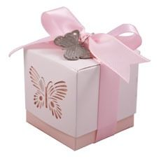 Pink Butterfly Favour Box