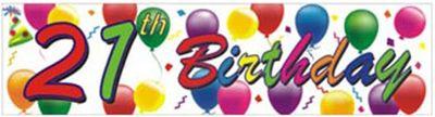 21st Birthday Balloons Banner