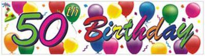 50th Birthday Balloons Banner