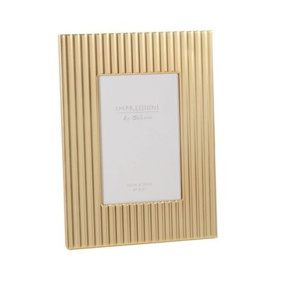 impressions Gold Coloured Photo Frame Vertical Ridges 4x6 inch
