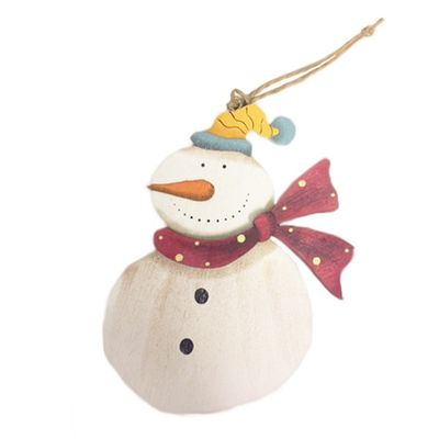 Wooden Snowman Hanging Decoration 12.5cm x 8.5cm ideal for personalisation