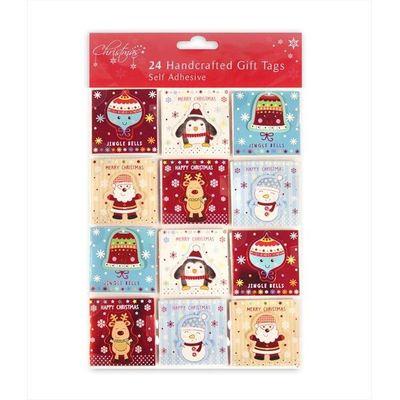 24 Christmas Gift Tags Cute Designs - Penguins/Reindeer