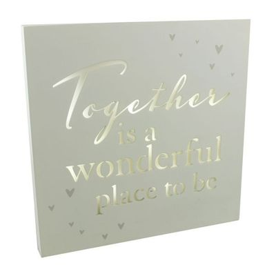 Amore Light Up Mdf Wall Plaque 25cm Together