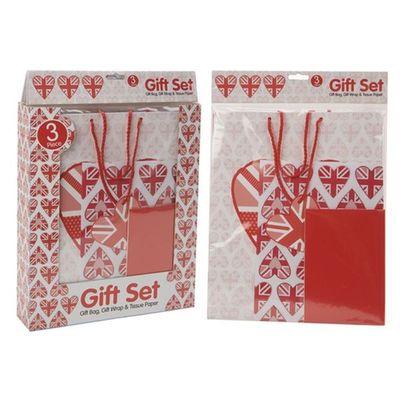3pc Love Design Gft Pk Set 19o Gsm L s G bag W paper & Tissue