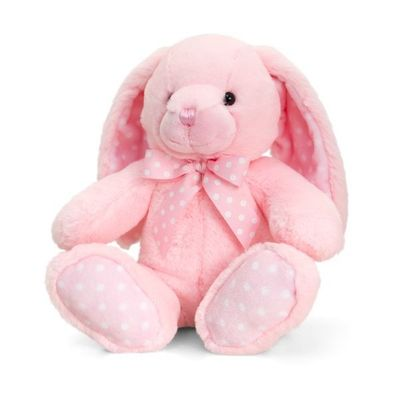 25cm Baby Spotty Rabbit - Pink By Keel Toys