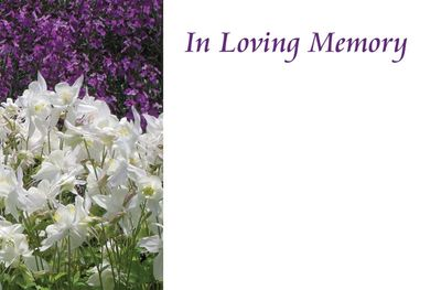 In Loving Memory Purple and White Sympathy Card
