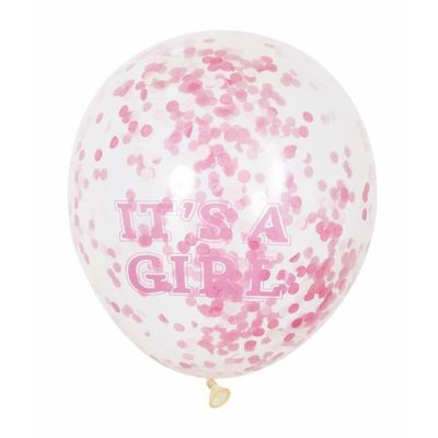6 X 12 Inch Clear Girl Balloon With Pink Confetti