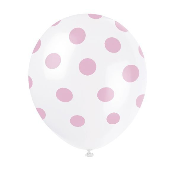 6 X Lovely Pink Dot Balloons - Printed All Over - 12 Inch