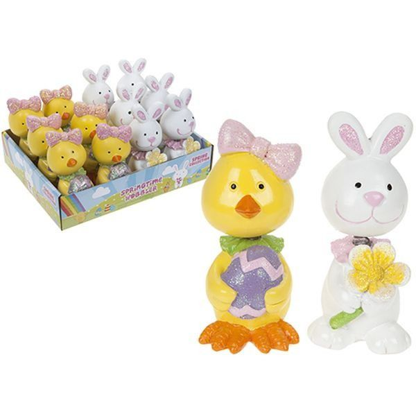 2 Assorted Resin Easter Wobblers W glitter In 12pc Display Tray