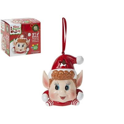 3 Inch Elf Ornament With 3 Col        Changing Light In Printed Box