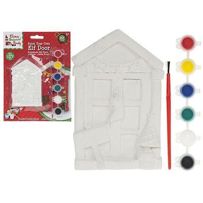 4 Inch Paint Your Own Mini Pelmet  Elf Door.with 6 Paints  And  Brush