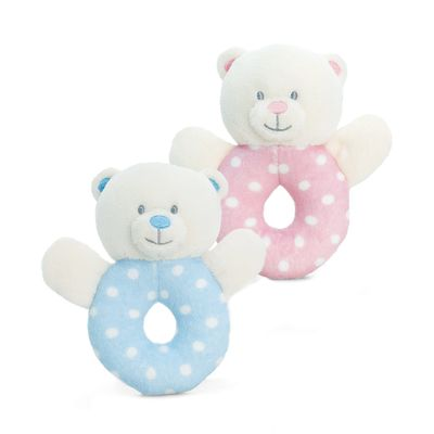 12cm Baby Bear Ring Rattle Pink or Blue