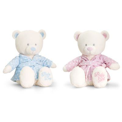 25cm Baby Bear in Dressing Gown Pink or Blue