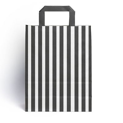 Black Candy Stripe Paper Carrier Bags (25 pk)