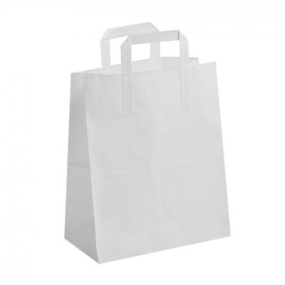 White Paper Carrier Bags with Handles (25 pk)