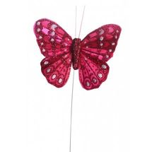 Red Glittered Butterfly 7cm