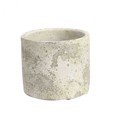 Rustic Round Cement Flower Pot 11cm