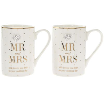 Mr and Mrs Mad Dots Wedding Day Mugs