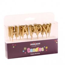 Happy Birthday Pick Candle- Metallic Gold
