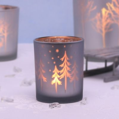 Small Silver Votive with Trees