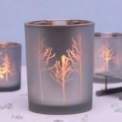 Large Silver Votive with Trees and Reindeer