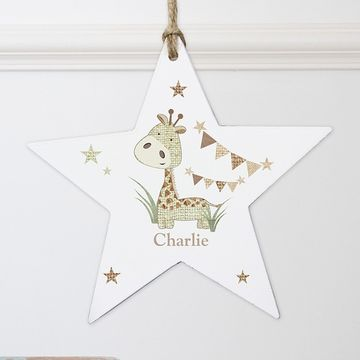 Hessian Giraffe Personalised Wooden Star Decoration