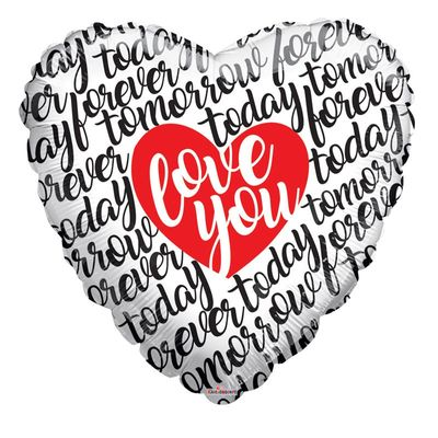 Love You Script Heart Supershape Balloon