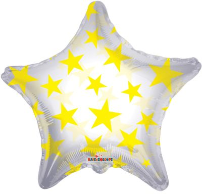 Yellow Patterned Star Balloon (22inch)
