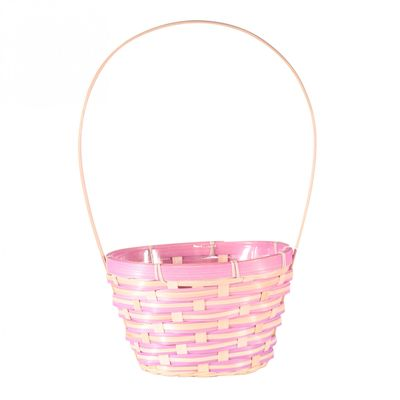 Lilac Oval Bamboo Basket with Handle (19cm)