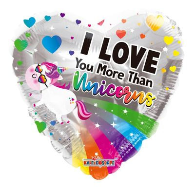 I love you more than unicorns balloon