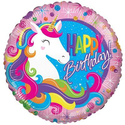 Classic Happy Birthday Unicorn Balloon