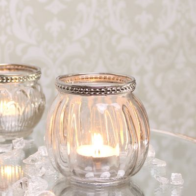 Tealight Holder with Metal Rim Decoration (8cm)