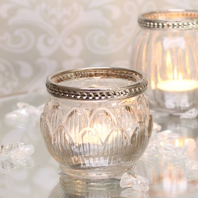Tealight Holder with Metal Rim Decoration (6cm)