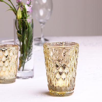 Gold Crystal Effect Votive (11cm)