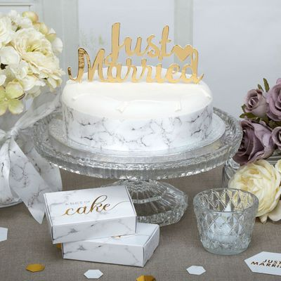 Scripted Just Married Gold Cake Topper