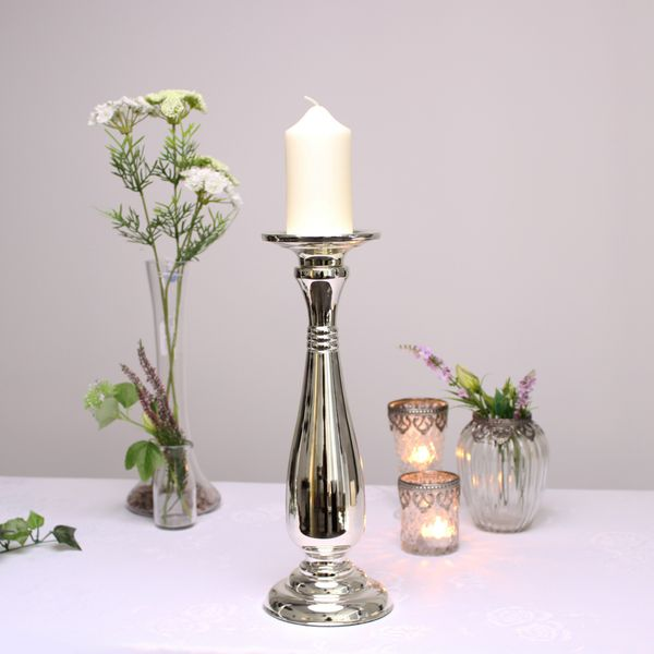 Silver Candle Holder (35cm)