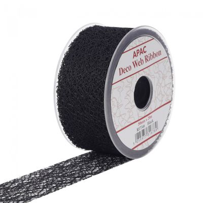 Black Deco Web Ribbon (50mm)