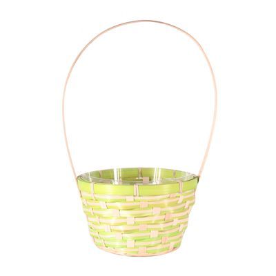 Green Round Bamboo Basket with Handle (18.5cm)