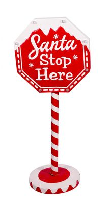 Santa Stop Here Metal Sign with Lights