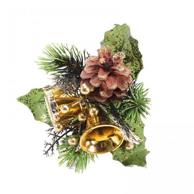 Gold Bell Christmas Pick with Glitter