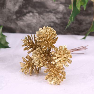 Gold Glitter Cone Bunch of 6 (3cm)